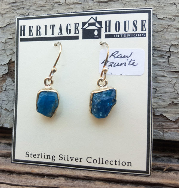 Raw Azurite Drop Earrings