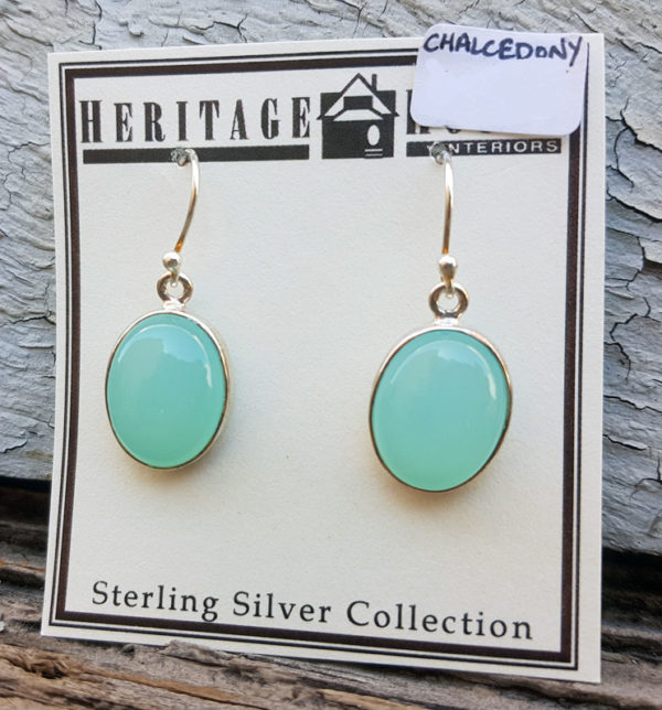 Chalcedony Oval Drop Earrings
